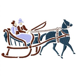Horse Drawn Sleigh embroidery design
