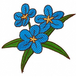 Blue Impatiens embroidery design