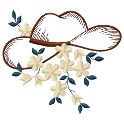 Cowboy Hat and Flower embroidery design