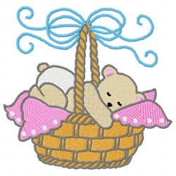 Baby Bear Basket embroidery design