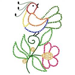 Bird & Flower Candlewick embroidery design