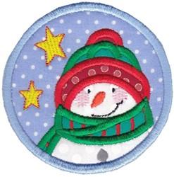 Snowman Coaster embroidery design