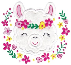 Llama Flowers embroidery design