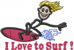 Surfer Joe embroidery design