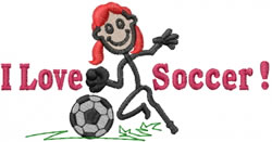 Soccer Jane embroidery design