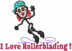 Roller Blader Jane embroidery design