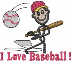Baseball Player Joe embroidery design