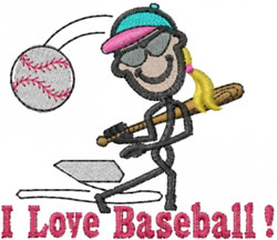 Baseball Player Jane embroidery design
