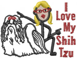 I Love My Shih Tzu embroidery design