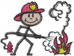 Fireman embroidery design