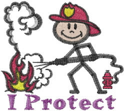 I Protect embroidery design