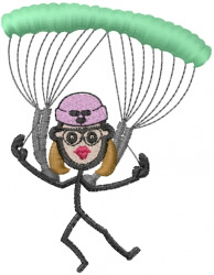 Sky Diving Jane embroidery design