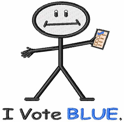 I Vote Blue embroidery design