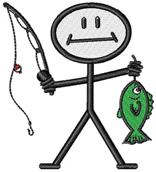 Fishing Stickfigure embroidery design