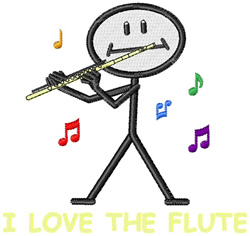 I Love the Flute embroidery design