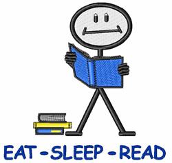 Eat Sleep Read embroidery design