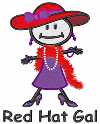 Red Hat Gal embroidery design