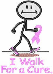 I Walk for a Cure embroidery design