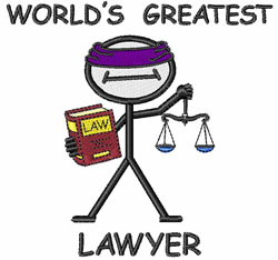 Worlds Greatest Lawyer embroidery design