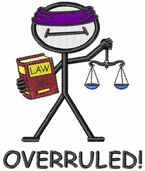 Overruled embroidery design