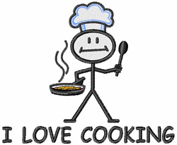 I Love Cooking embroidery design