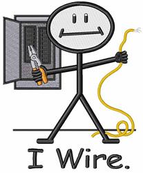 I Wire embroidery design