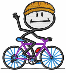 Bicyclist embroidery design