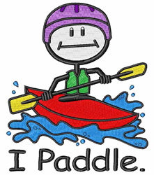 I Paddle embroidery design