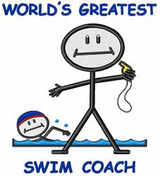 Swim Coach embroidery design