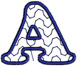 Waves Letter A embroidery design
