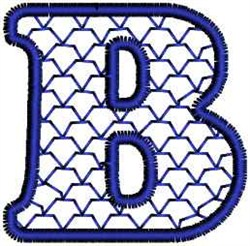 Fish Scales Letter B embroidery design