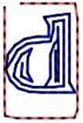 Contour Letter d embroidery design