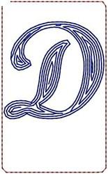 Contour Script D embroidery design