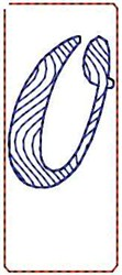 Wave Script Number 0 embroidery design