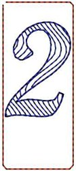 Wave Script Number 2 embroidery design