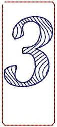 Wave Script Number 3 embroidery design