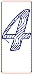 Wave Script Number 4 embroidery design