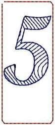 Wave Script Number 5 embroidery design