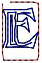 Contour Letter E embroidery design