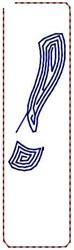 Contour Script Exclamation embroidery design