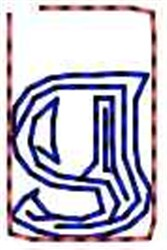 Contour Letter g embroidery design