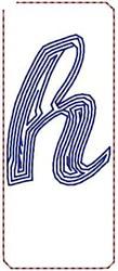 Contour Script h embroidery design