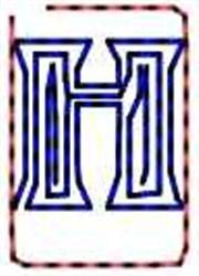 Contour Letter H embroidery design