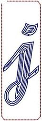 Contour Script j embroidery design