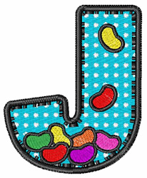 J is for Jelly Beans embroidery design