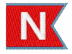 Pennant Font N embroidery design