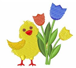 Chick with Tulips embroidery design