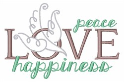 Love Peace Happiness embroidery design