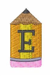 Pencil Font E embroidery design