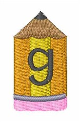 Pencil Font g embroidery design